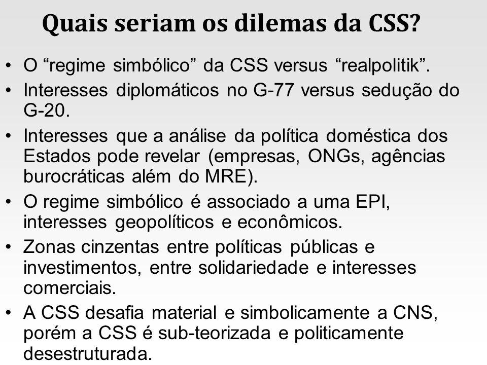 Quais seriam os dilemas da CSS? O regime simbólico da CSS versus realpolitik. Interesses diplomáticos no G-77 versus sedução do G-20. Interesses que a