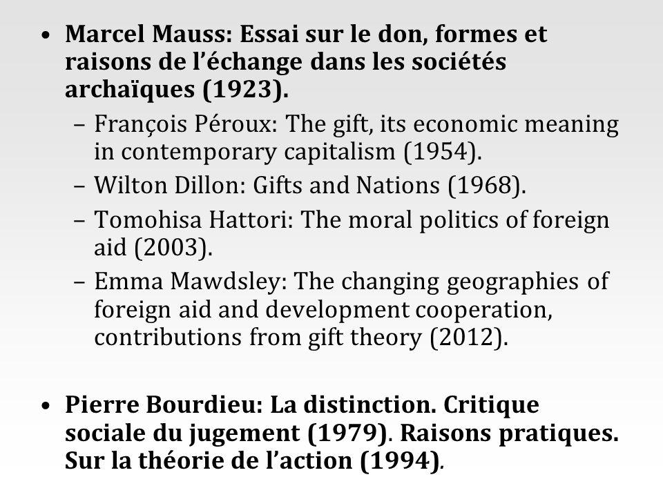 Marcel Mauss: Essai sur le don, formes et raisons de léchange dans les sociétés archaïques (1923). –François Péroux: The gift, its economic meaning in