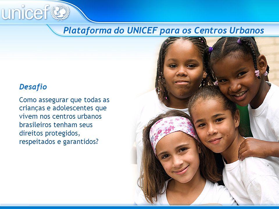 O UNICEF acredita que esse desafio só será superado com a mobilização de toda a cidade Plataforma do UNICEF para os Centros Urbanos PARTICIPAÇÃO ATIVA DOS ATORES COMUNITÁRIOS GRUPO ARTICULADOR LOCAL