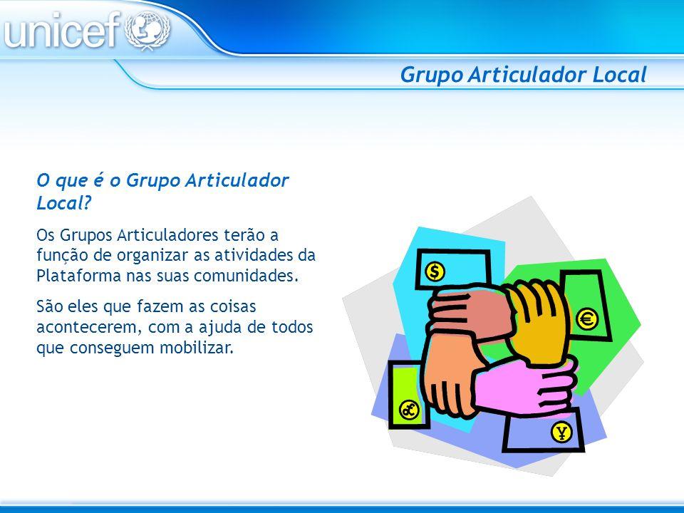 Grupo Articulador Local O grupo articulador NÃO representa a comunidade.
