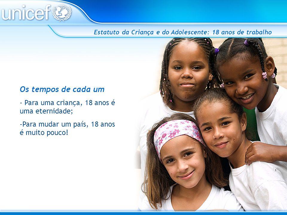 Estatuto da Criança e do Adolescente: 18 anos de trabalho Os tempos de cada um - Para uma criança, 18 anos é uma eternidade; -Para mudar um país, 18 a