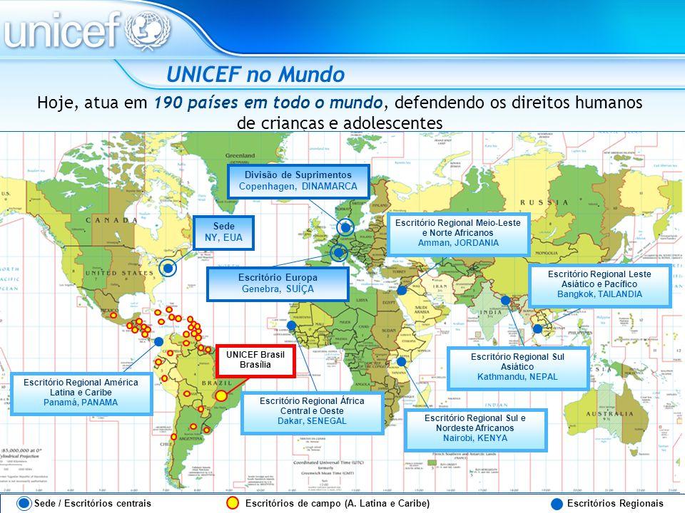 UNICEF no Mundo Hoje, atua em 190 países em todo o mundo, defendendo os direitos humanos de crianças e adolescentes Sede / Escritórios centrais Escrit