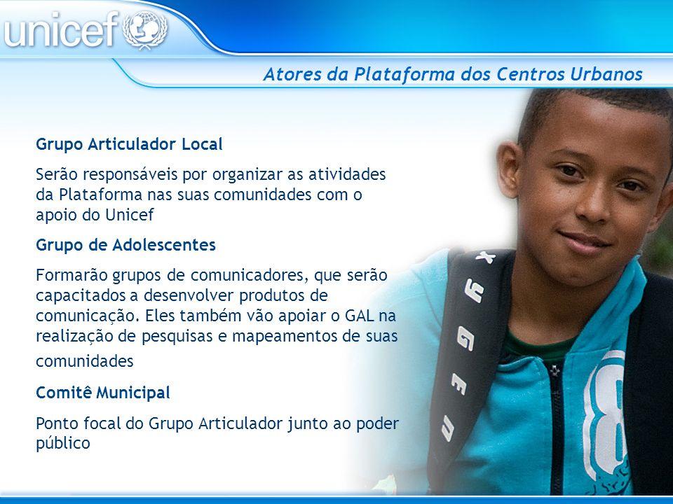 Prioridades e Estratégias do Programa 2007-2011 Para o período de 2007 a 2011, tem como prioridades assegurar o direito de cada criança e adolescente a: SOBREVIVER E SE DESENVOLVER APRENDER PROTEGER(-SE) DO HIV/aids CRESCER SEM VIOLÊNCIA SER PRIORIDADE ABSOLUTA NAS POLÍTICAS PÚBLICAS Plataformas: Semi-árido Amazônia Centros Urbanos