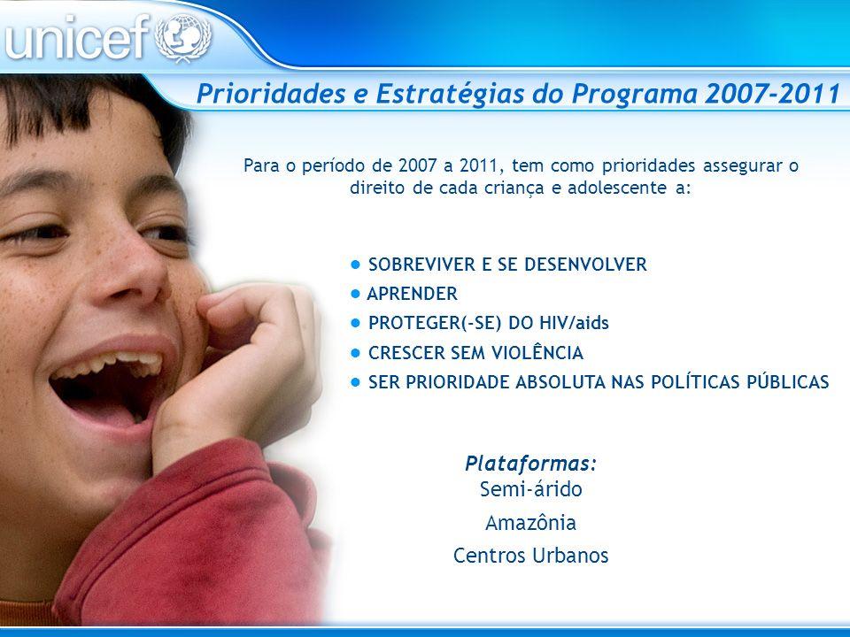 Prioridades e Estratégias do Programa 2007-2011 Para o período de 2007 a 2011, tem como prioridades assegurar o direito de cada criança e adolescente