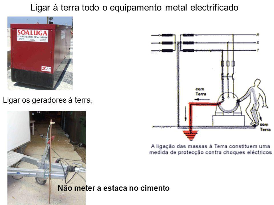Ligar à terra todo o equipamento metal electrificado Ligar os geradores à terra, Não meter a estaca no cimento
