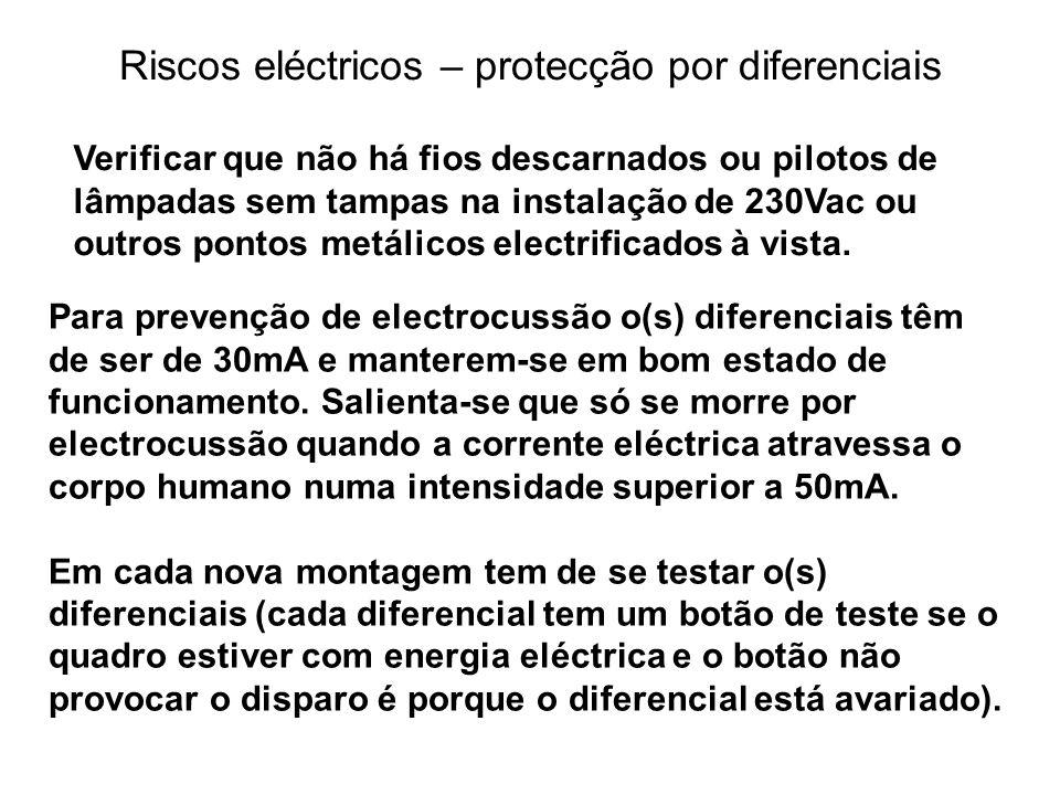 Riscos eléctricos – protecção por diferenciais Para prevenção de electrocussão o(s) diferenciais têm de ser de 30mA e manterem-se em bom estado de fun