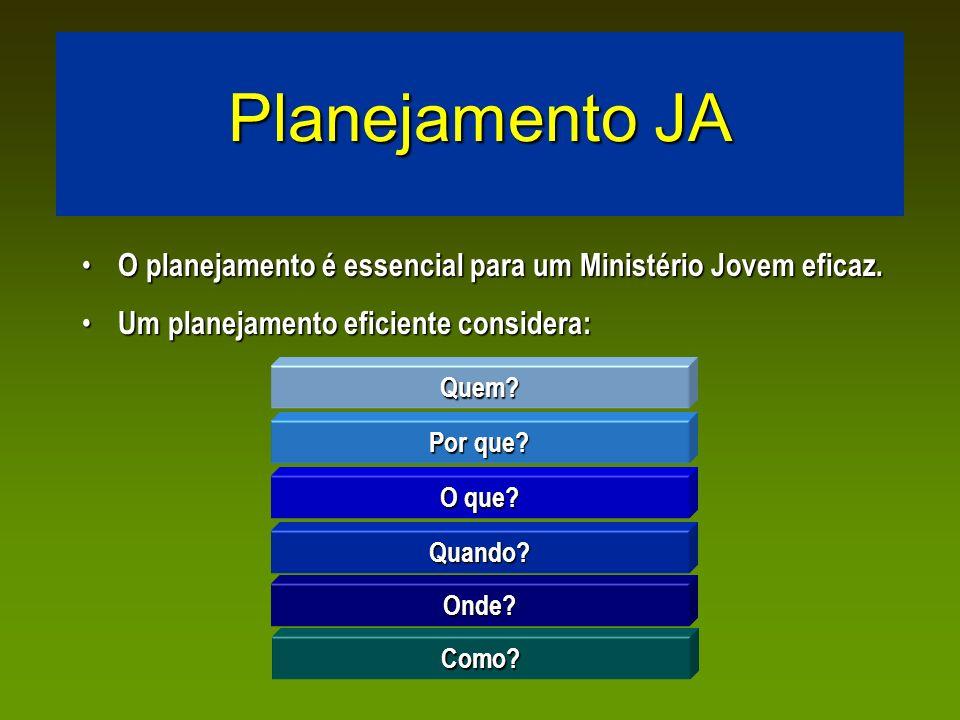 Planejamento JA O planejamento é essencial para um Ministério Jovem eficaz. O planejamento é essencial para um Ministério Jovem eficaz. Um planejament