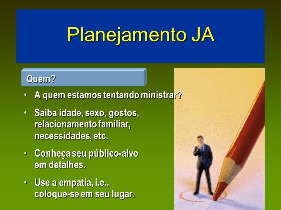 Planejamento JA Cada atividade deve ter um alvo, um propósito.