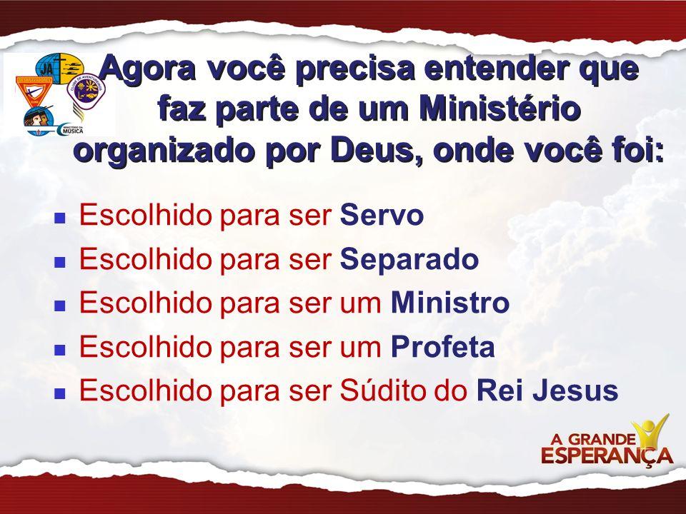Escolhido para ser Servo Escolhido para ser Separado Escolhido para ser um Ministro Escolhido para ser um Profeta Escolhido para ser Súdito do Rei Jes