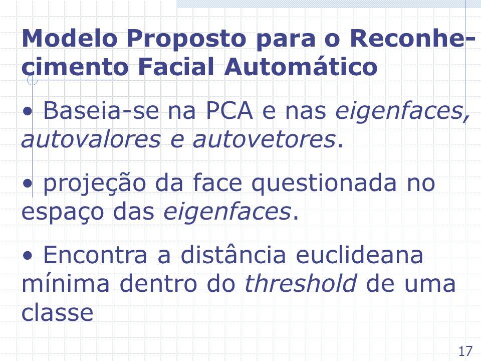 Modelo Proposto para o Reconhe- cimento Facial Automático Baseia-se na PCA e nas eigenfaces, autovalores e autovetores. projeção da face questionada n