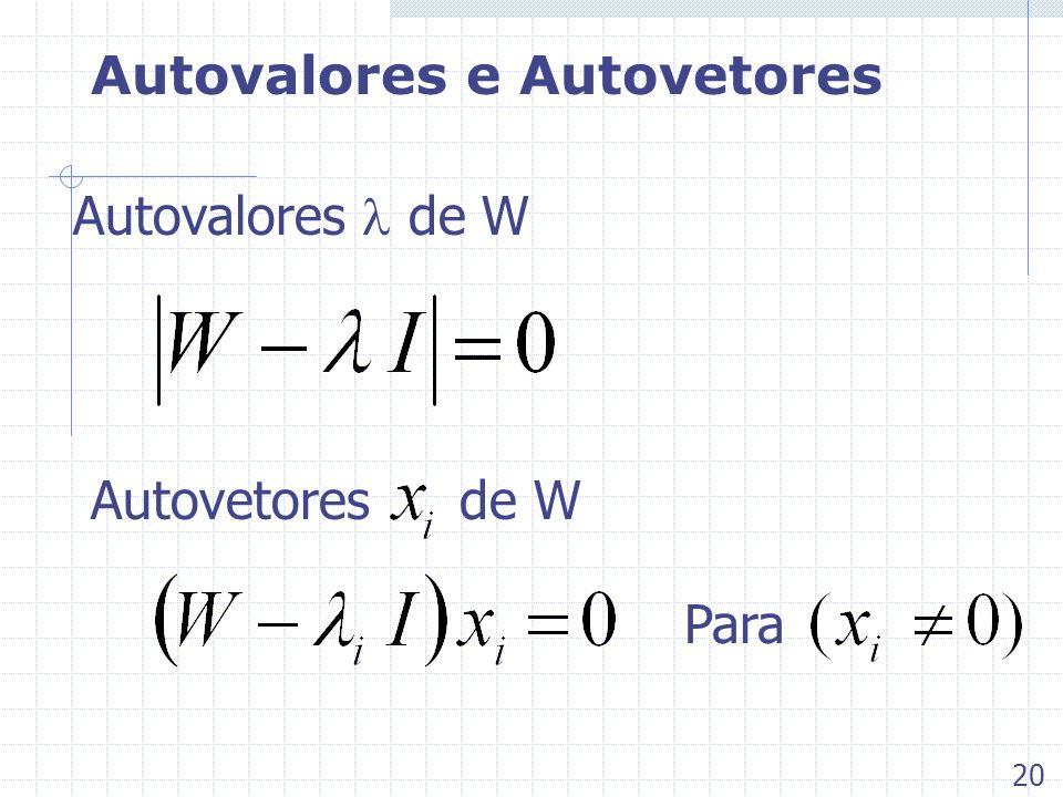 Autovalores e Autovetores Autovalores de W Autovetores de W 20 Para