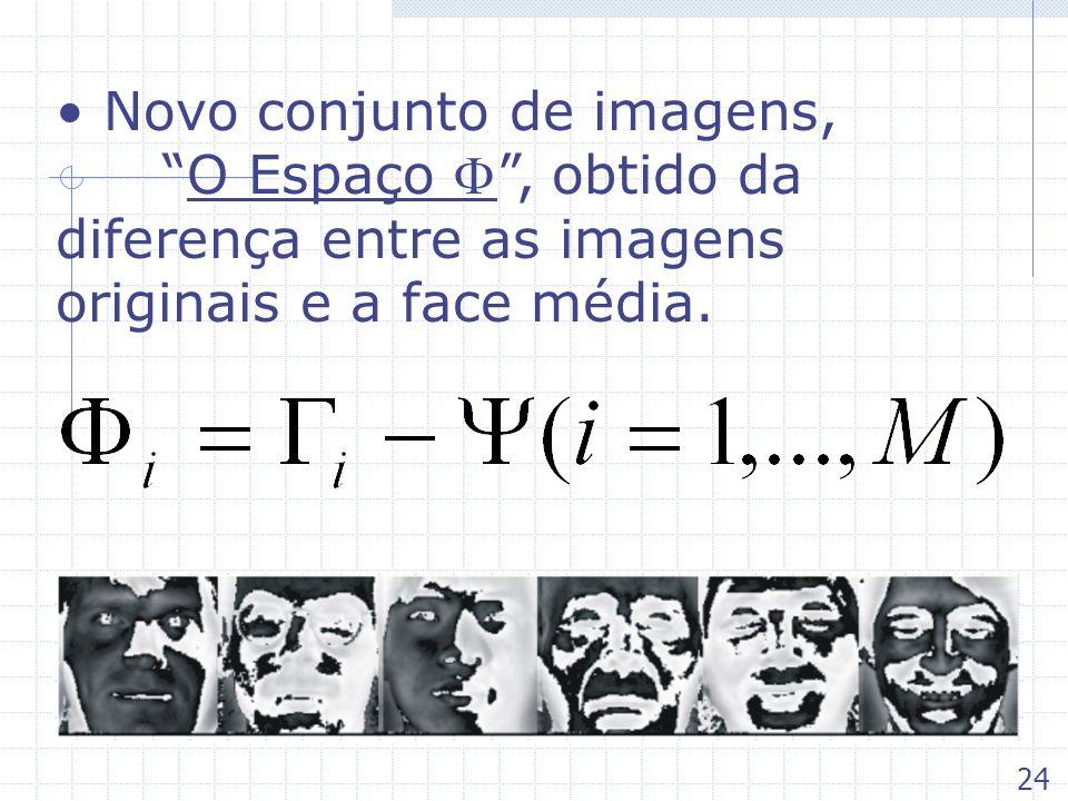 Novo conjunto de imagens,O Espaço, obtido da diferença entre as imagens originais e a face média. 24