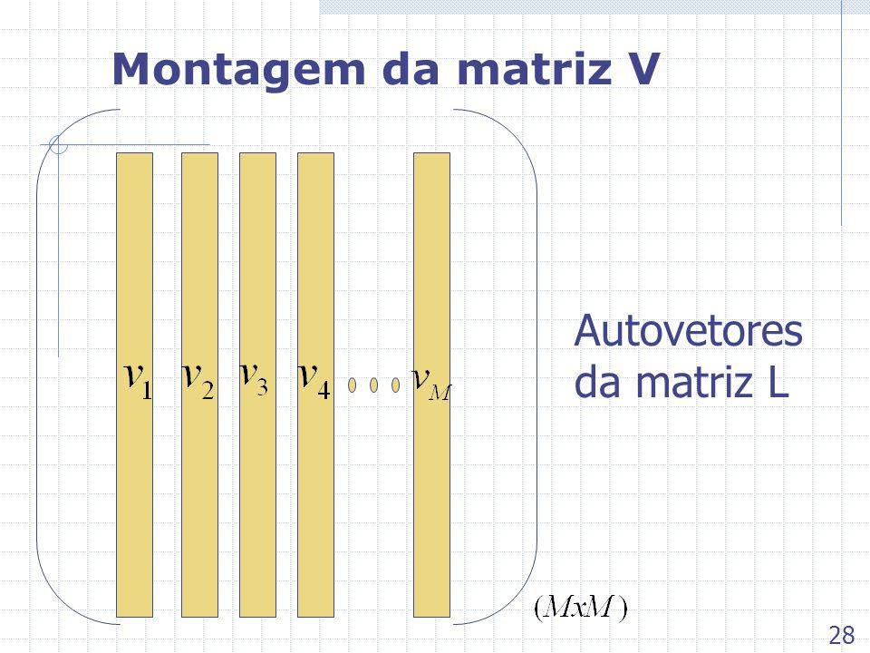 Montagem da matriz V Autovetores da matriz L 28