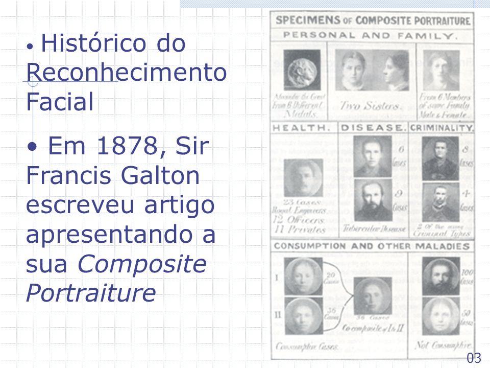 Histórico do Reconhecimento Facial Em 1878, Sir Francis Galton escreveu artigo apresentando a sua Composite Portraiture 03