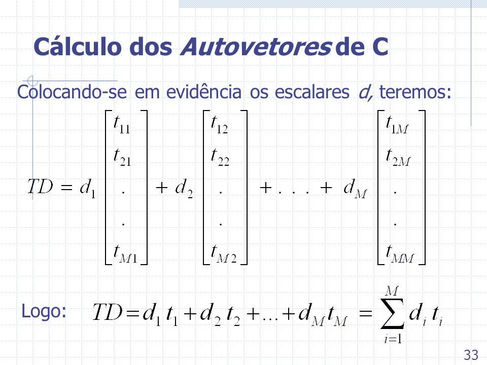 Cálculo dos Autovetores de C Colocando-se em evidência os escalares d, teremos: Logo: 33