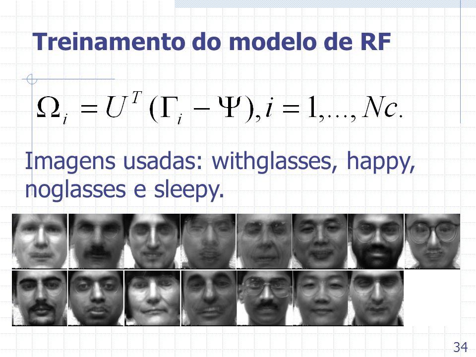 Treinamento do modelo de RF Imagens usadas: withglasses, happy, noglasses e sleepy. 34
