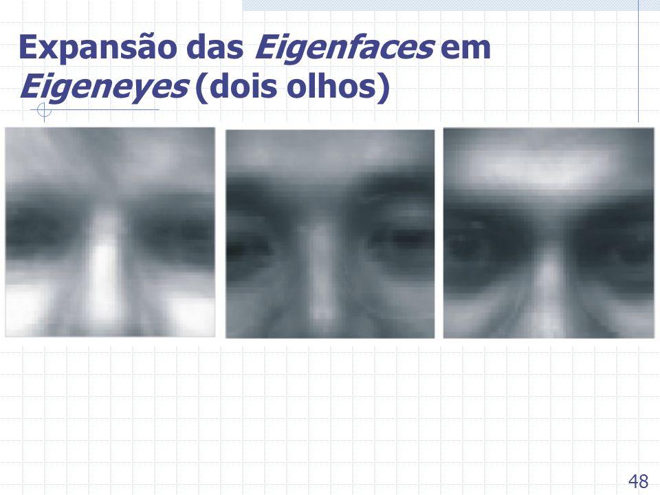 Expansão das Eigenfaces em Eigeneyes (dois olhos) 48