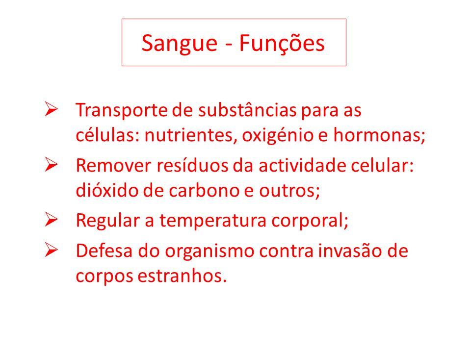 Sangue - Funções Transporte de substâncias para as células: nutrientes, oxigénio e hormonas; Remover resíduos da actividade celular: dióxido de carbon
