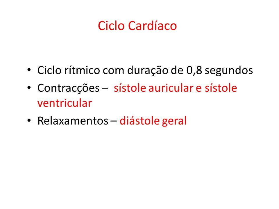 Ciclo rítmico com duração de 0,8 segundos Contracções – sístole auricular e sístole ventricular Relaxamentos – diástole geral Ciclo Cardíaco