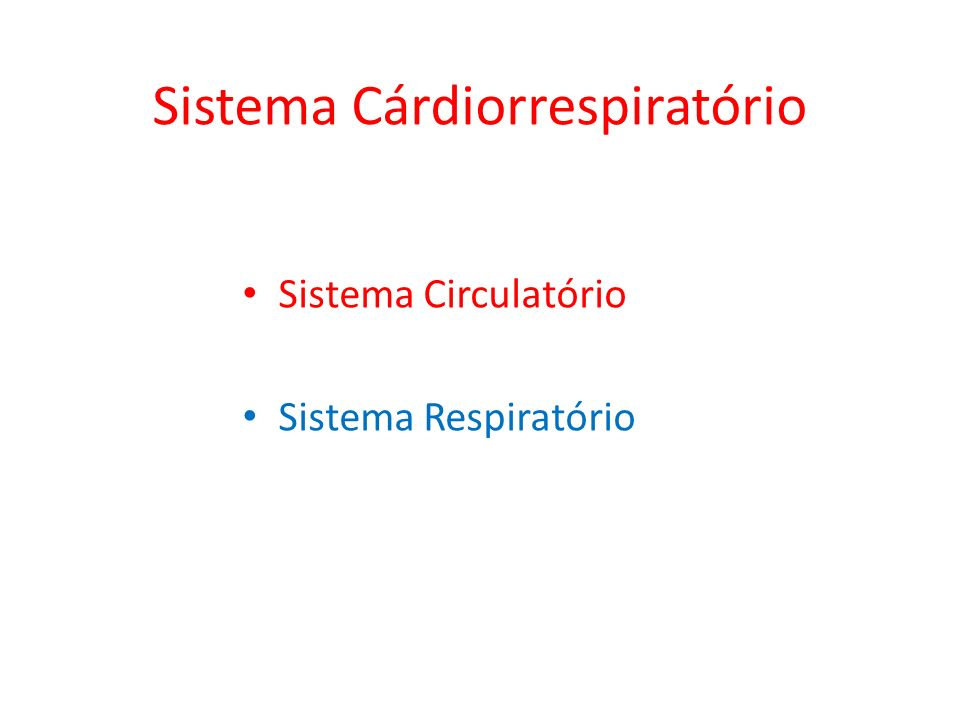 Sistema Cárdiorrespiratório Sistema Circulatório Sistema Respiratório