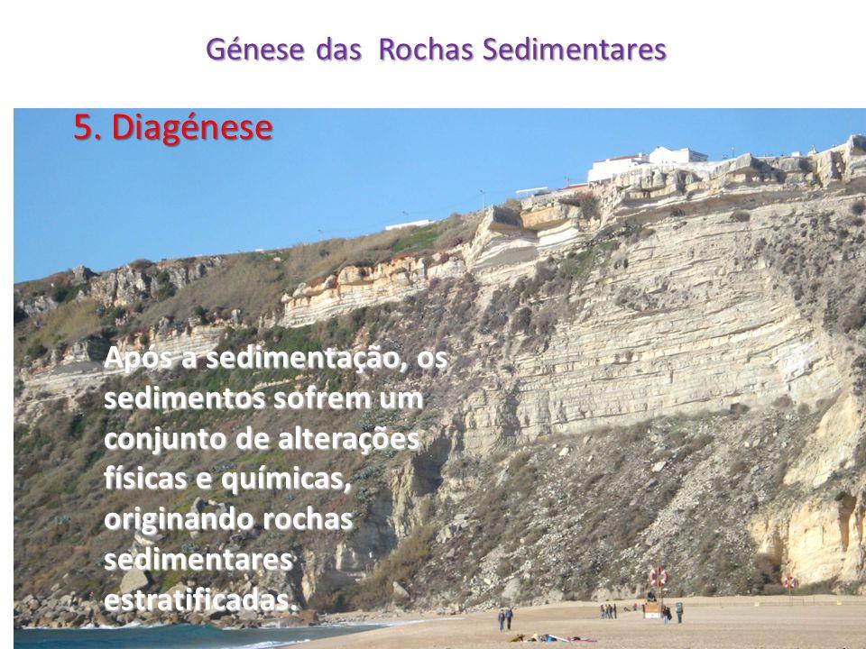 Génese das Rochas Sedimentares 5. Diagénese Após a sedimentação, os sedimentos sofrem um conjunto de alterações físicas e químicas, originando rochas