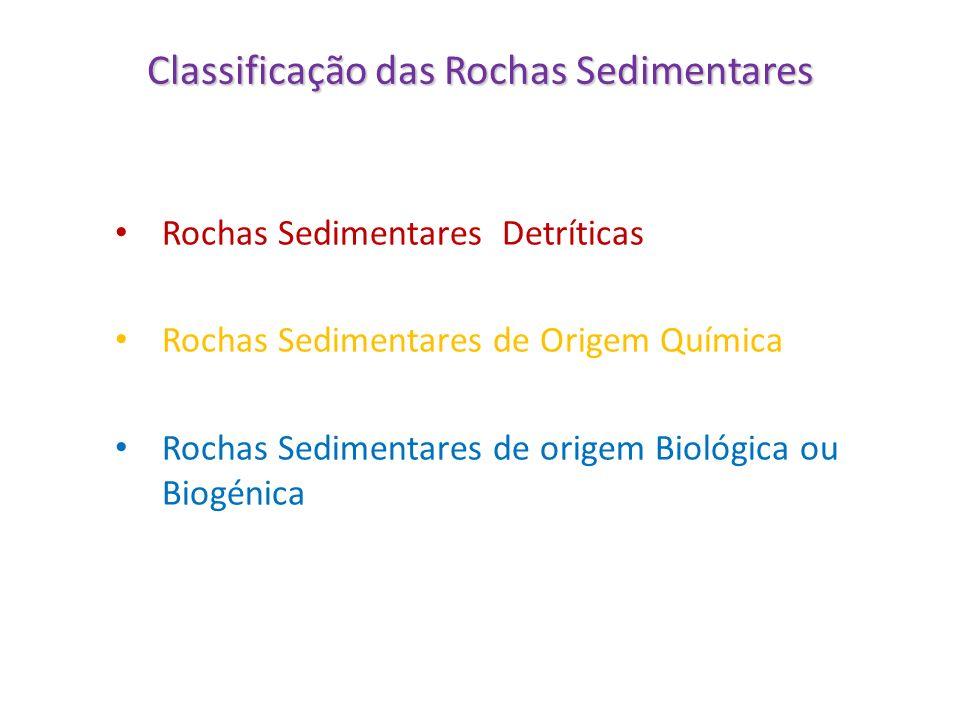 Classificação das Rochas Sedimentares Rochas Sedimentares Detríticas Rochas Sedimentares de Origem Química Rochas Sedimentares de origem Biológica ou