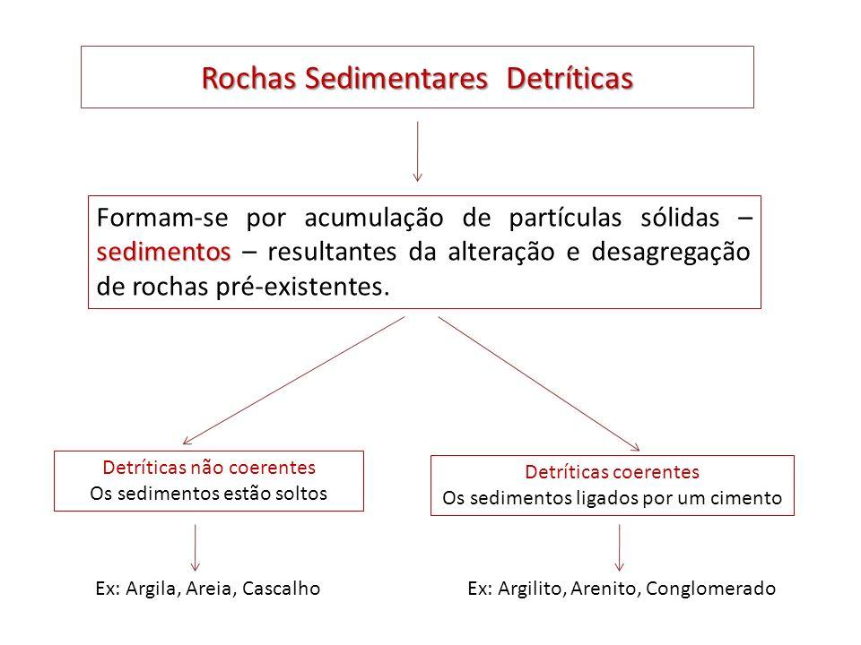 Rochas Sedimentares Detríticas sedimentos Formam-se por acumulação de partículas sólidas – sedimentos – resultantes da alteração e desagregação de roc