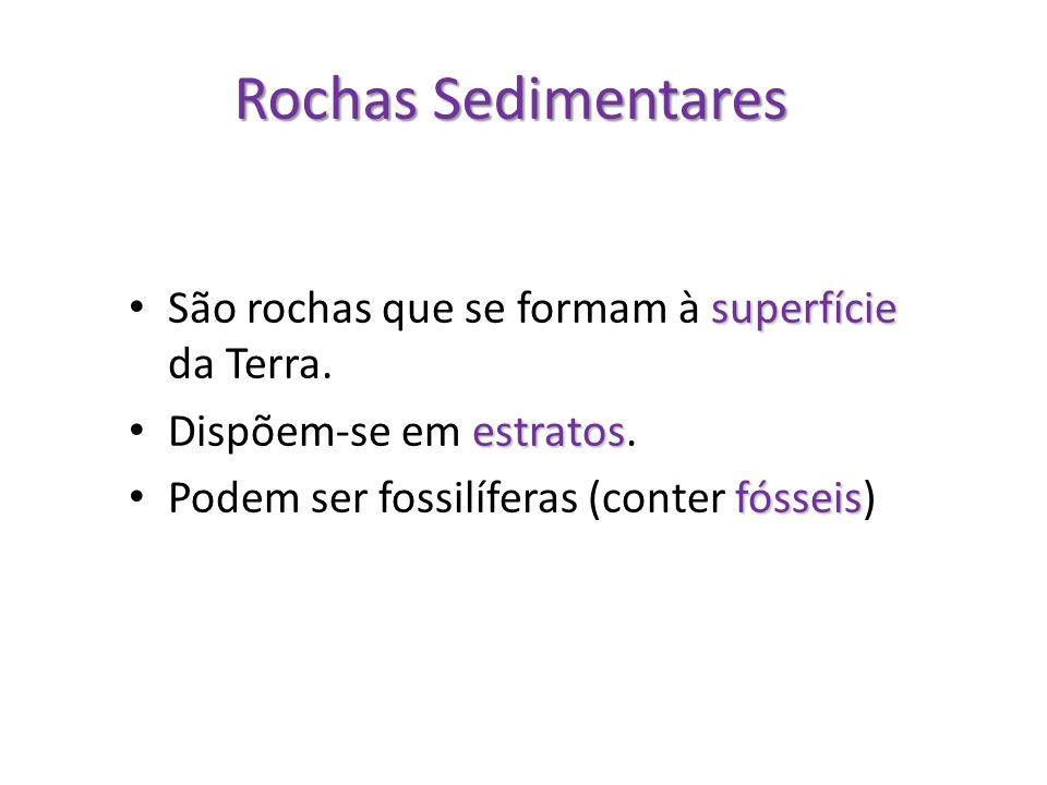 Rochas Sedimentares superfície São rochas que se formam à superfície da Terra. estratos Dispõem-se em estratos. fósseis Podem ser fossilíferas (conter