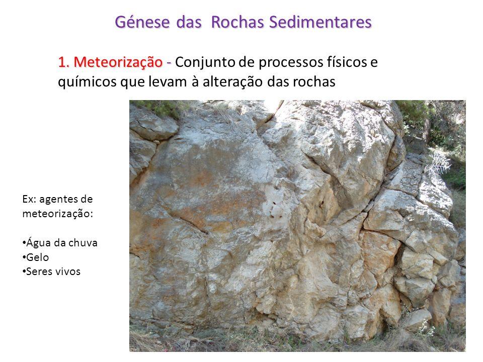 Génese das Rochas Sedimentares 1. Meteorização - 1. Meteorização - Conjunto de processos físicos e químicos que levam à alteração das rochas Ex: agent