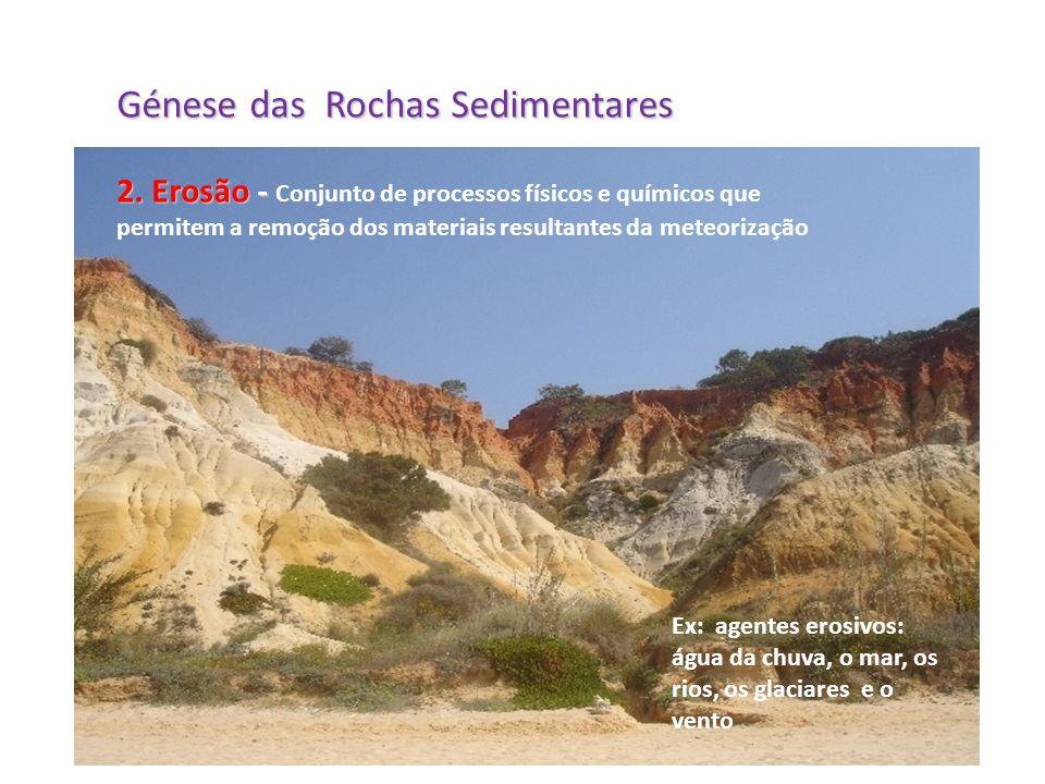 Génese das Rochas Sedimentares 2. Erosão - 2. Erosão - Conjunto de processos físicos e químicos que permitem a remoção dos materiais resultantes da me