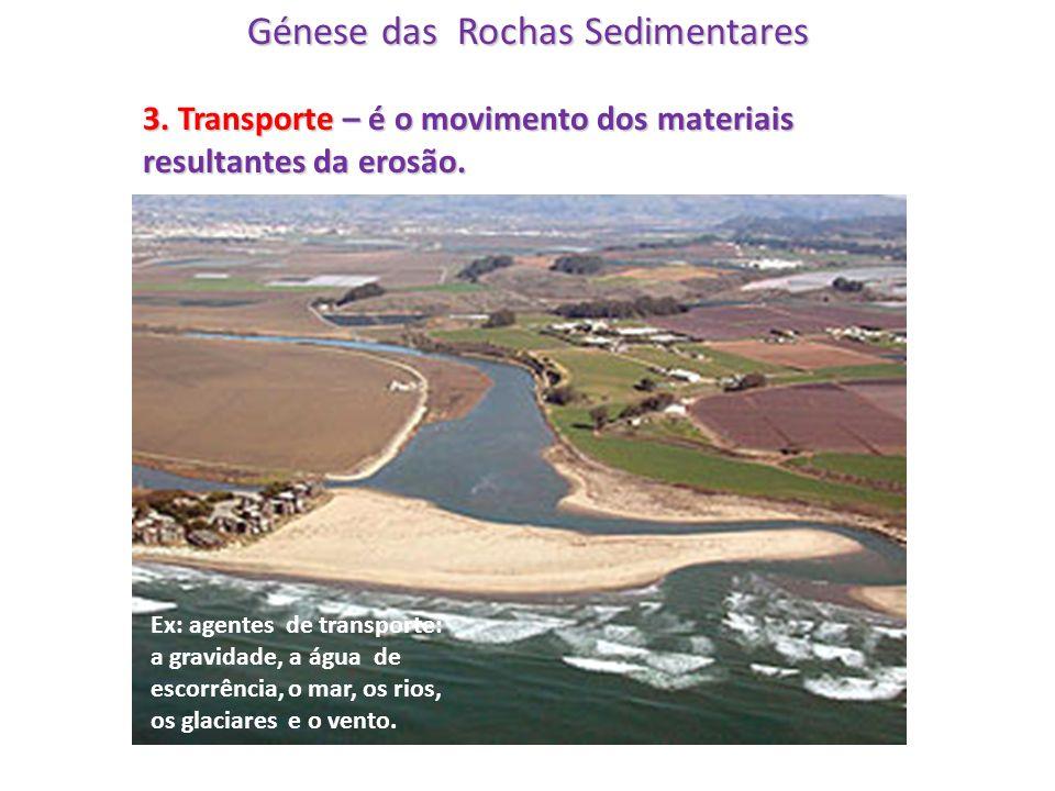 Génese das Rochas Sedimentares 3. Transporte – é o movimento dos materiais resultantes da erosão. Ex: agentes de transporte: a gravidade, a água de es