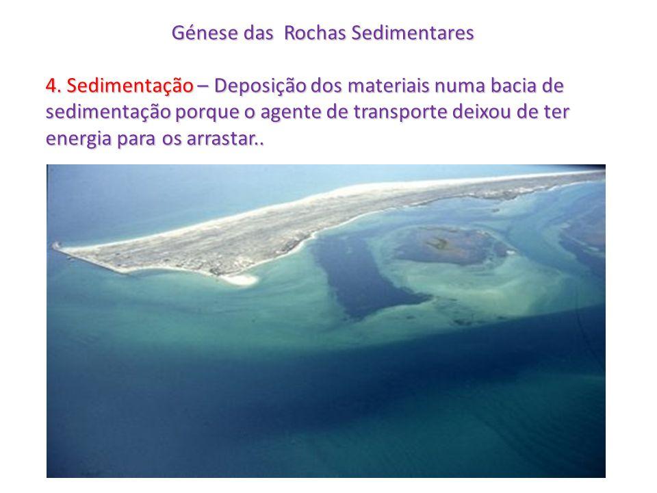 Génese das Rochas Sedimentares 4. Sedimentação – Deposição dos materiais numa bacia de sedimentação porque o agente de transporte deixou de ter energi