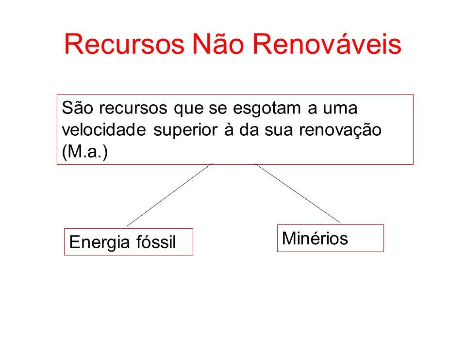 Recursos Não Renováveis São recursos que se esgotam a uma velocidade superior à da sua renovação (M.a.) Energia fóssil Minérios