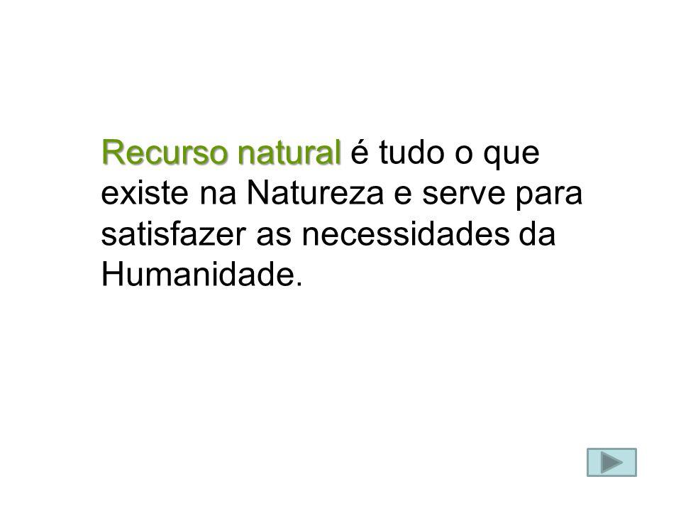 Recurso natural Recurso natural é tudo o que existe na Natureza e serve para satisfazer as necessidades da Humanidade.