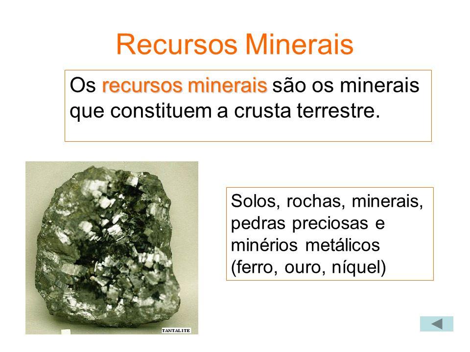 Recursos Minerais recursos minerais Os recursos minerais são os minerais que constituem a crusta terrestre. Solos, rochas, minerais, pedras preciosas