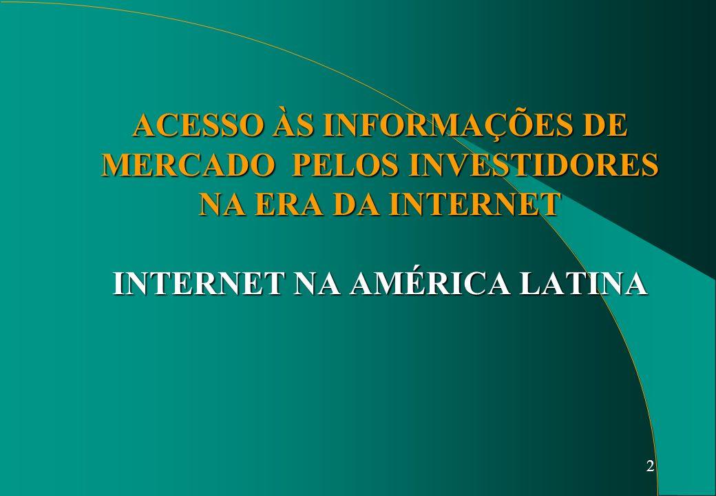 2 ACESSO ÀS INFORMAÇÕES DE MERCADO PELOS INVESTIDORES NA ERA DA INTERNET INTERNET NA AMÉRICA LATINA