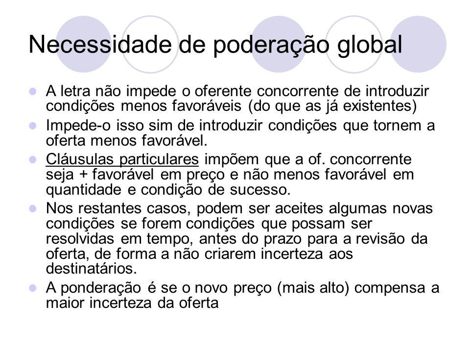 Necessidade de poderação global A letra não impede o oferente concorrente de introduzir condições menos favoráveis (do que as já existentes) Impede-o