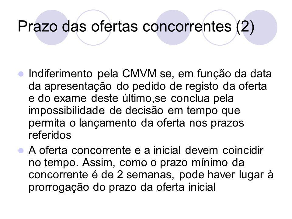 Prazo das ofertas concorrentes (2) Indiferimento pela CMVM se, em função da data da apresentação do pedido de registo da oferta e do exame deste últim