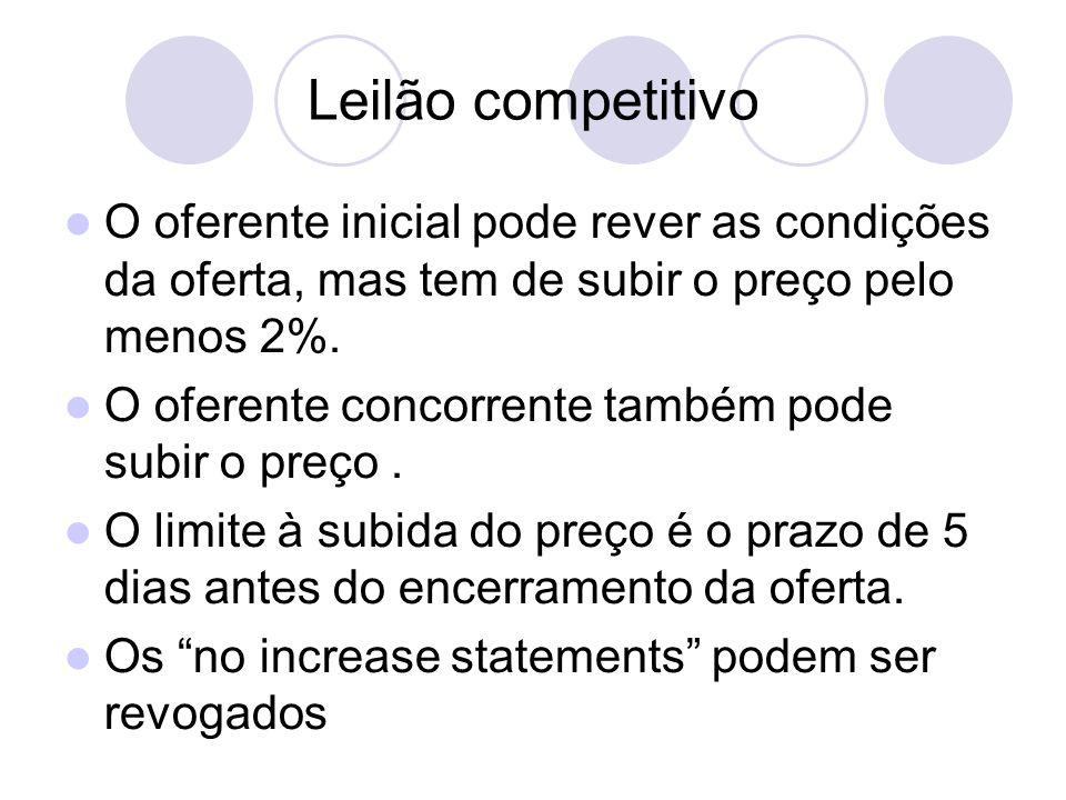 Leilão competitivo O oferente inicial pode rever as condições da oferta, mas tem de subir o preço pelo menos 2%. O oferente concorrente também pode su