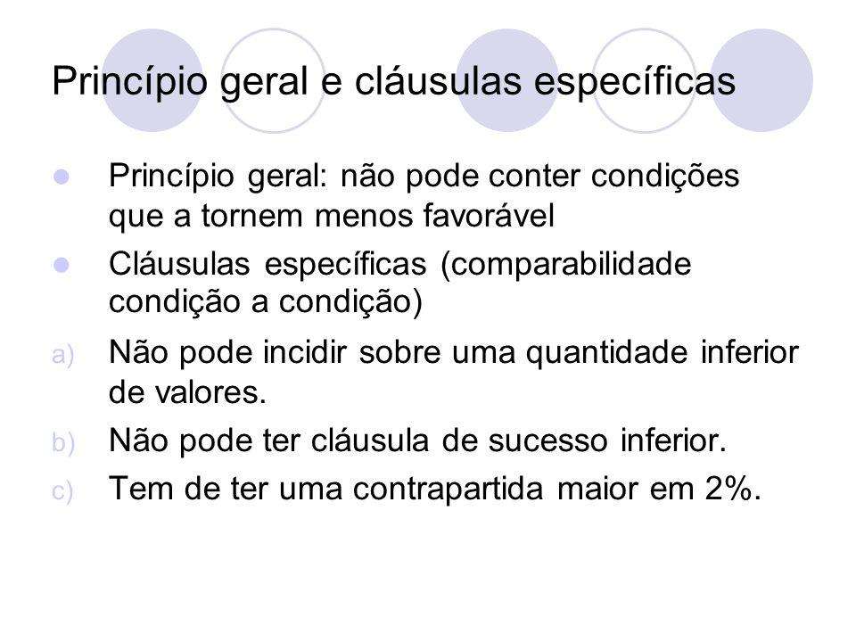 Princípio geral e cláusulas específicas Princípio geral: não pode conter condições que a tornem menos favorável Cláusulas específicas (comparabilidade condição a condição) a) Não pode incidir sobre uma quantidade inferior de valores.