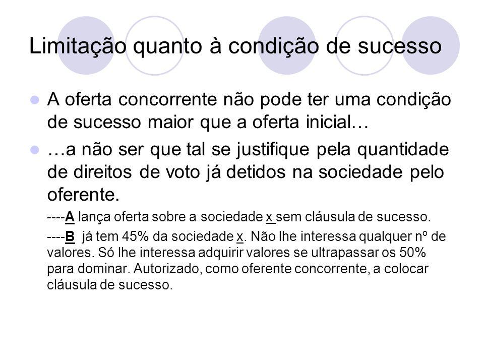 Limitação quanto à condição de sucesso A oferta concorrente não pode ter uma condição de sucesso maior que a oferta inicial… …a não ser que tal se justifique pela quantidade de direitos de voto já detidos na sociedade pelo oferente.