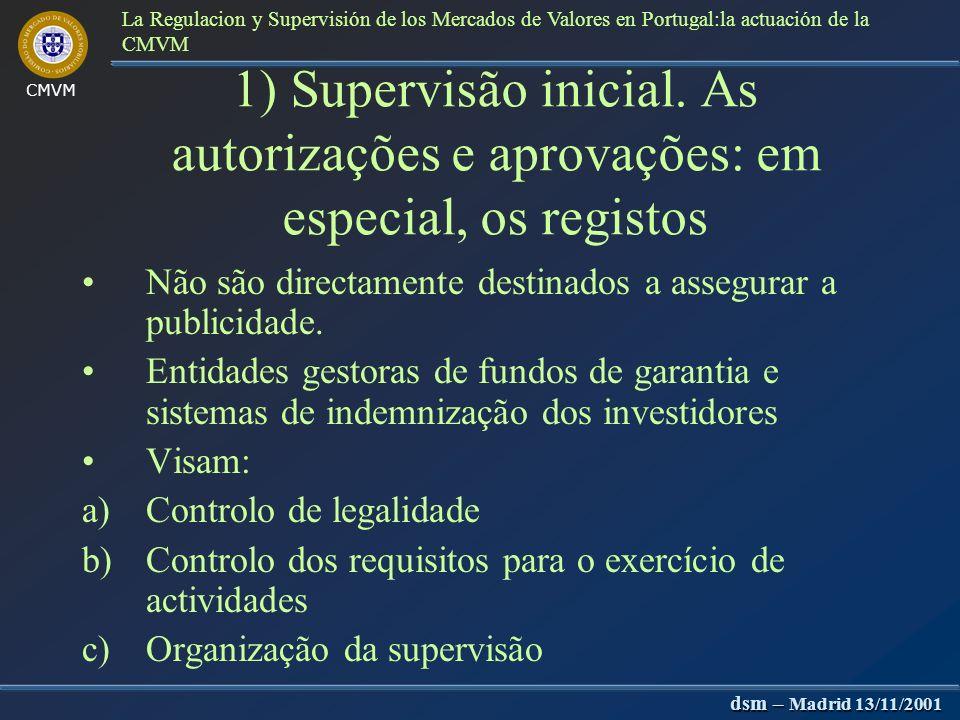 CMVM dsm – Madrid 13/11/2001 La Regulacion y Supervisión de los Mercados de Valores en Portugal:la actuación de la CMVM A CMVM e o BP Ponto de contacto: os intermediários financeiros Modelo tendencialmente de supervisão.