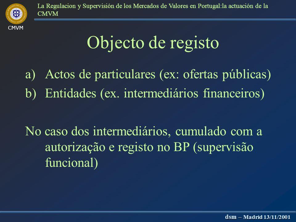 CMVM dsm – Madrid 13/11/2001 La Regulacion y Supervisión de los Mercados de Valores en Portugal:la actuación de la CMVM 1) Supervisão inicial.