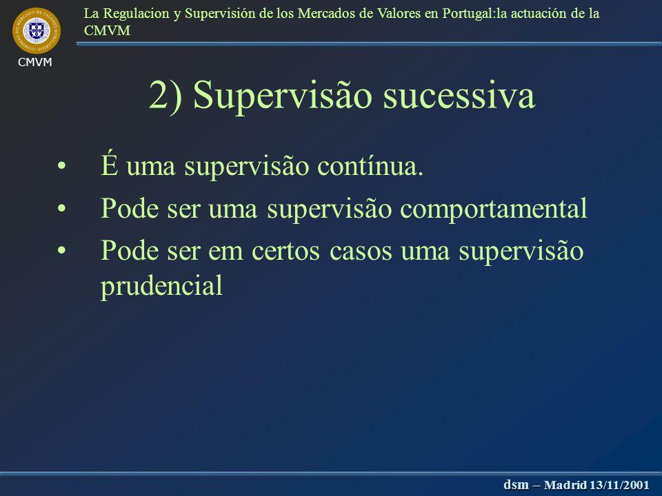 CMVM dsm – Madrid 13/11/2001 La Regulacion y Supervisión de los Mercados de Valores en Portugal:la actuación de la CMVM Objecto de registo a)Actos de particulares (ex: ofertas públicas) b)Entidades (ex.