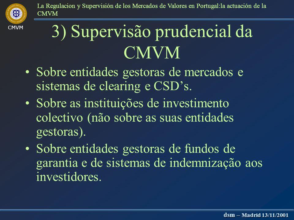 CMVM dsm – Madrid 13/11/2001 La Regulacion y Supervisión de los Mercados de Valores en Portugal:la actuación de la CMVM 2) Supervisão sucessiva É uma supervisão contínua.