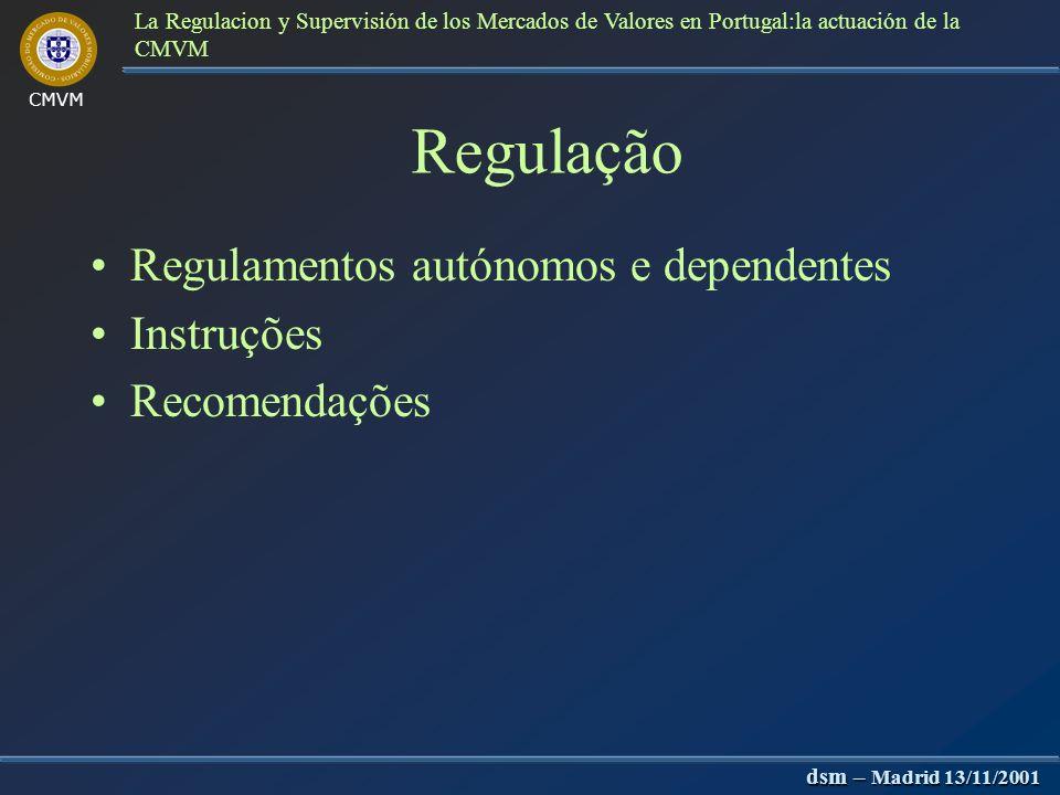 CMVM dsm – Madrid 13/11/2001 La Regulacion y Supervisión de los Mercados de Valores en Portugal:la actuación de la CMVM Fiscalização e sanções Procedi
