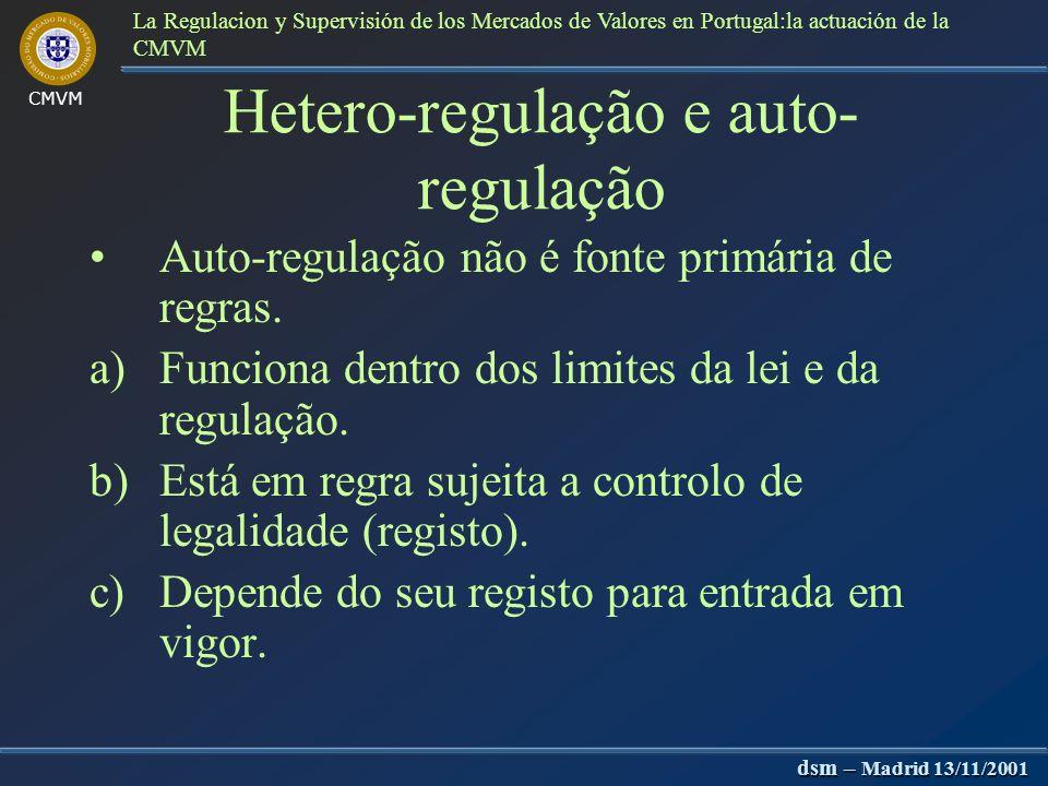 CMVM dsm – Madrid 13/11/2001 La Regulacion y Supervisión de los Mercados de Valores en Portugal:la actuación de la CMVM Auto-regulação Regras e código