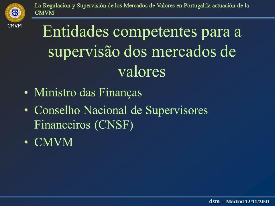 CMVM dsm – Madrid 13/11/2001 La Regulacion y Supervisión de los Mercados de Valores en Portugal:la actuación de la CMVM Aspectos legais da noção de su