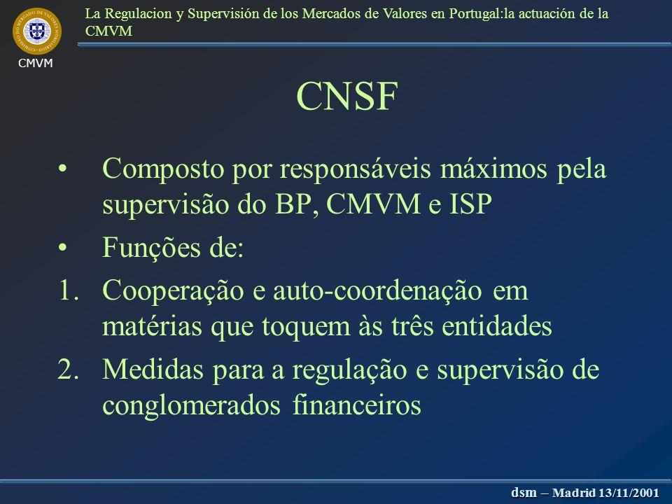 dsm – Madrid 13/11/2001 La Regulacion y Supervisión de los Mercados de Valores en Portugal:la actuación de la CMVM Ministro das Finanças Coordenação g
