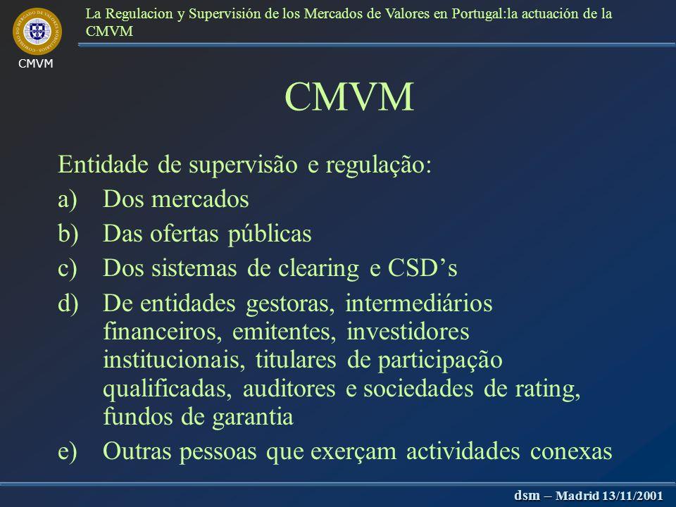 CMVM dsm – Madrid 13/11/2001 La Regulacion y Supervisión de los Mercados de Valores en Portugal:la actuación de la CMVM CNSF Composto por responsáveis máximos pela supervisão do BP, CMVM e ISP Funções de: 1.Cooperação e auto-coordenação em matérias que toquem às três entidades 2.Medidas para a regulação e supervisão de conglomerados financeiros